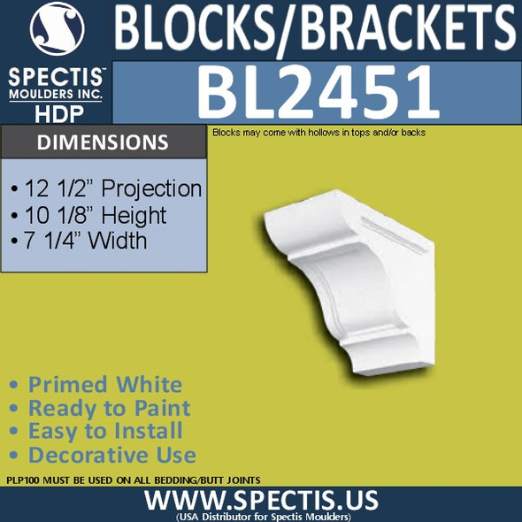 "BL2451 Eave Block or Bracket 7.25""W x 10""H x 12.5"" P"