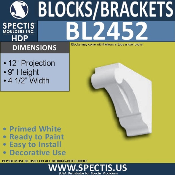 "BL2452 Eave Block or Bracket 4.5""W x 9""H x 12"" P"