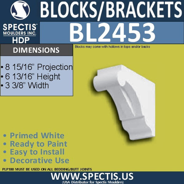 "BL2453 Eave Block or Bracket 3""W x 7""H x 9"" P"