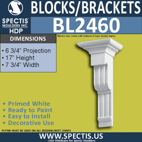 "BL2460 Eave Block or Bracket 7.75""W x 17""H x 6.75"" P"