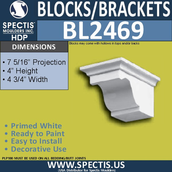 "BL2469 Eave Block or Bracket 4.75""W x 4""H x 8"" P"