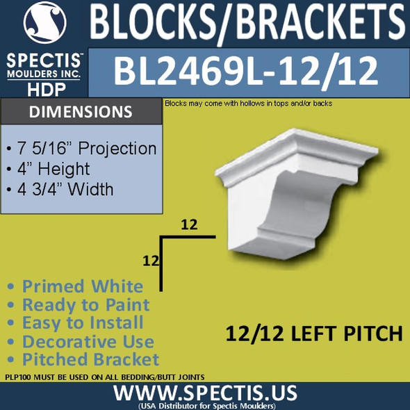 "BL2469L-12/12 Pitch Eave Bracket 4""W x 4""H x 8"" P"