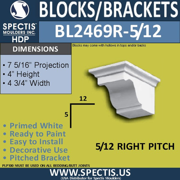 "BL2469R-5/12 Pitch Eave Bracket 4.75""W x 4""H x 7"" P"