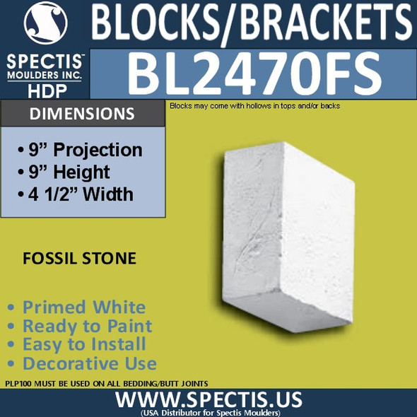 "BL2470FS Eave Block or Bracket 4.5""W x 9""H x 9"" P"
