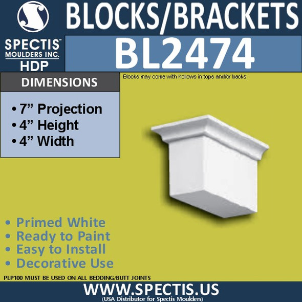 "BL2474 Eave Block or Bracket 4""W x 4""H x 7"" P"