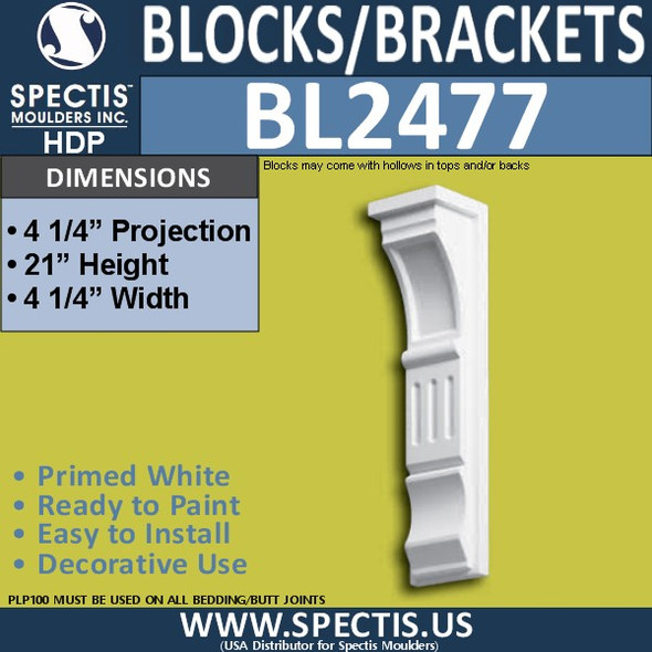 "BL2477 Eave Block or Bracket 4.5""W x 21""H x 4.5"" P"