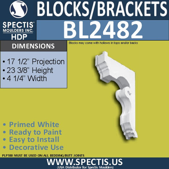 "BL2482 Eave Block or Bracket 4.5""W x 24""H x 17.5"" P"