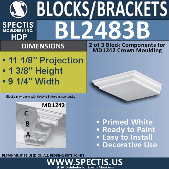 "BL2483B Eave Block or Bracket 9.25""W x 2""H x 10.25"" P"