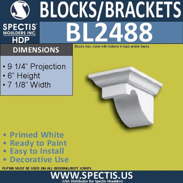 "BL2488 Eave Block or Bracket 7.13""W x 6""H x 9.25"" P"