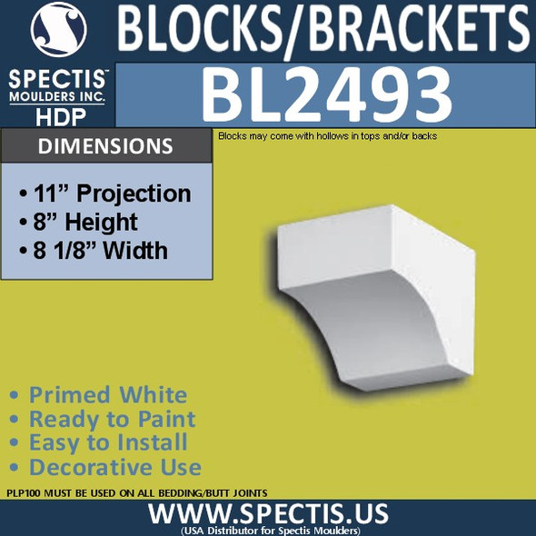"BL2493 Eave Block or Bracket 8.12""W x 8""H x 11"" P"