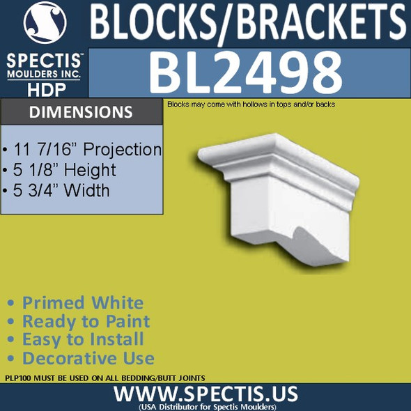 "BL2498 Eave Block or Bracket 5.5""W x 5.2""H x 11"" P"