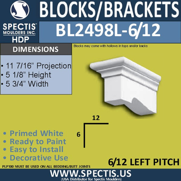 "BL2498L-6/12 Pitch Eave Block or Bracket 5""W x 5""H x 11"" P"