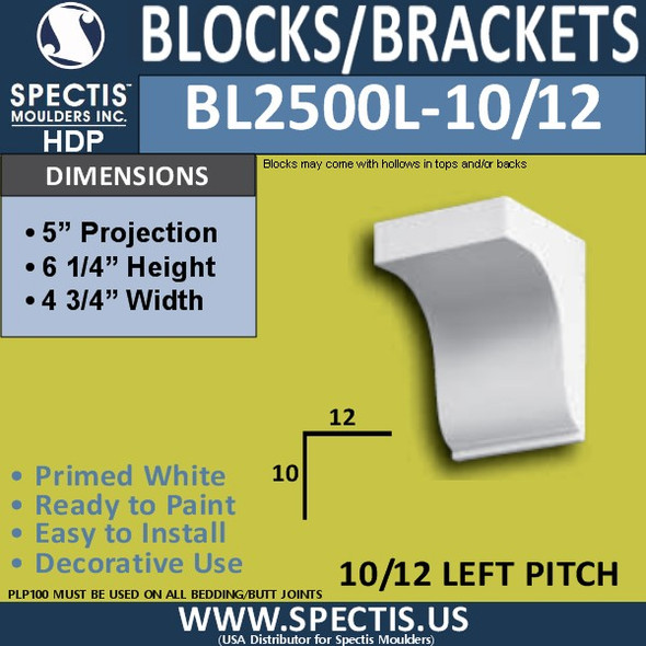 "BL2500L-10/12 Pitch Eave Bracket 4.75""W x 6.25""H x 5"" P"