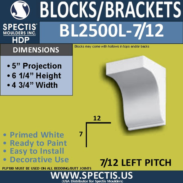 "BL2500L-7/12 Pitch Eave Bracket 4.75""W x 6.25""H x 5"" P"