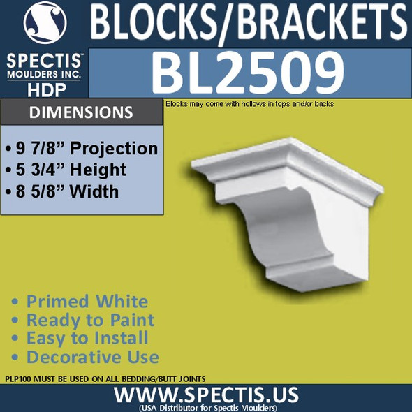 "BL2509 Eave Block or Bracket 8.5""W x 5.75""H x 10"" P"