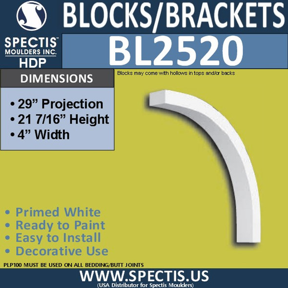 "BL2520 Eave Block or Bracket 4""W x 21""H x 29"" P"