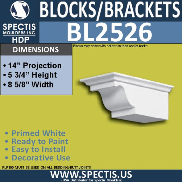 "BL2526 Eave Block or Bracket 8.5""W x 5.75""H x 14"" P"