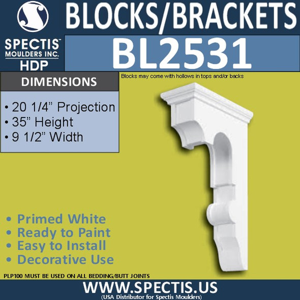 "BL2531 Eave Block or Bracket 9.5""W x 35""H x 20.25"" P"