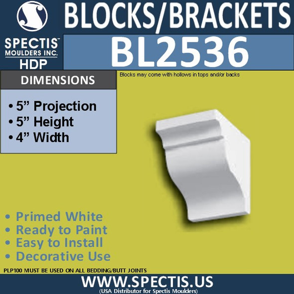 "BL2536 Eave Block or Bracket 4""W x 5""H x 5"" P"