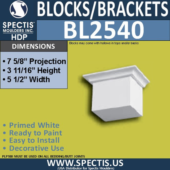 "BL2540 Eave Block or Bracket 5.5""W x 4""H x 3.75"" P"