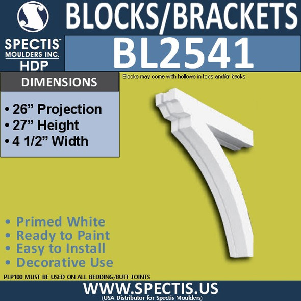 "BL2541 Eave Block or Bracket 4.5""W x 27""H x 26"" P"