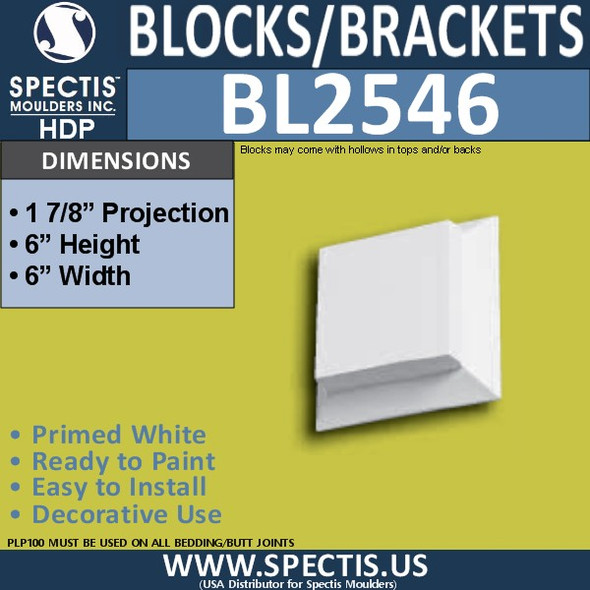 "BL2546 Eave Block or Bracket 6""W x 6""H x 2"" P"