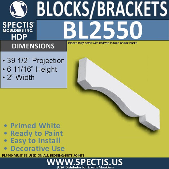 "BL2550 Eave Block or Bracket 2""W x 7""H x 39.5"" P"