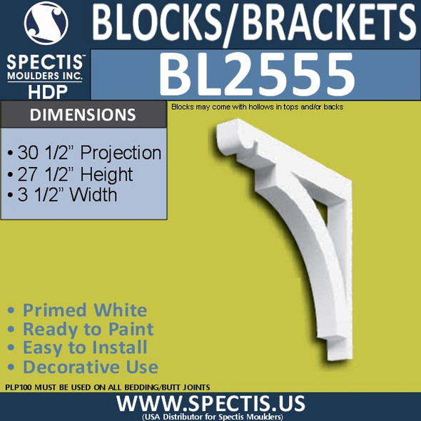 "BL2555 Eave Block or Bracket 3.5""W x 27.5""H x 30.5"" P"
