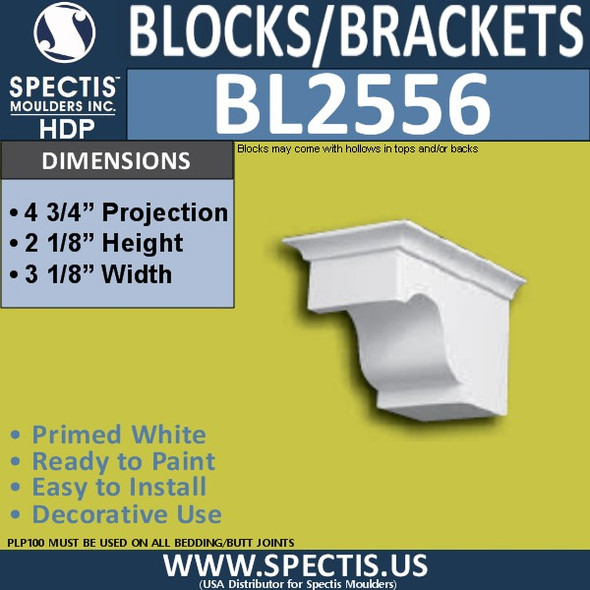 "BL2556 Eave Block or Bracket 3.25""W x 2.25""H x 4.75"" P"
