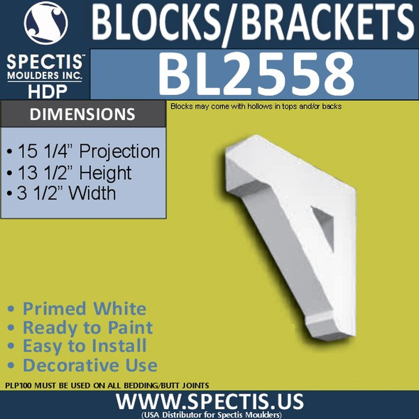 "BL2558 Eave Block or Bracket 3.5""W x 13.5""H x 15.25"" P"