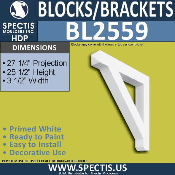 "BL2559 Eave Block or Bracket 3.5""W x 25.5""H x 27.25"" P"