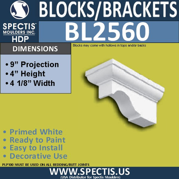 "BL2560 Eave Block or Bracket 4.25""W x 4""H x 9"" P"