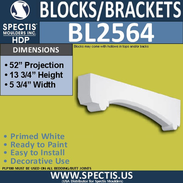 "BL2564 Eave Block or Bracket 5.75""W x 13.75""H x 52"" P"