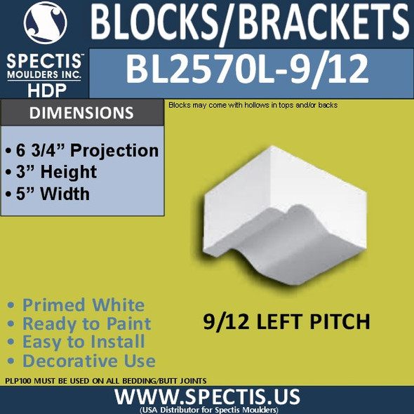 "BL2570L-9/12 Pitch Eave Bracket 5""W x 3""H x 6.75"" P"