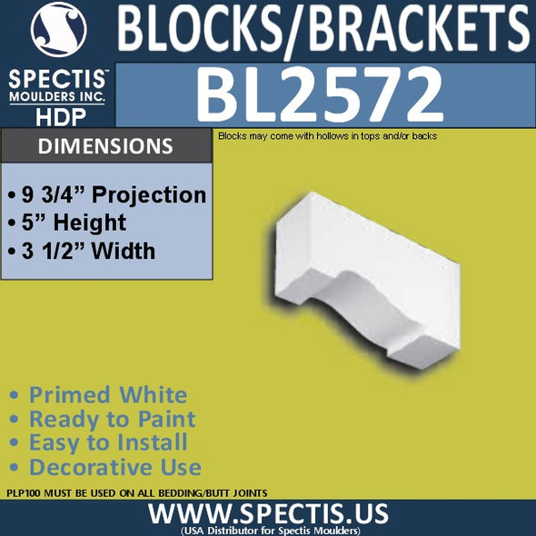 "BL2572 Eave Block or Bracket 3.5""W x 5""H x 9.75"" P"