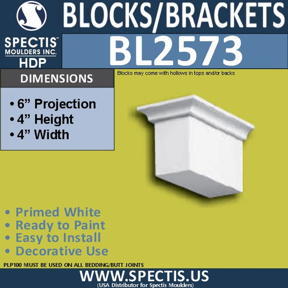 "BL2573 Eave Block or Bracket 3.5""W x 4""H x 6"" P"