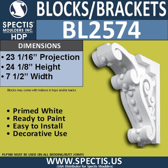 "BL2574 Eave Block or Bracket 7.5""W x 24""H x 23"" P"