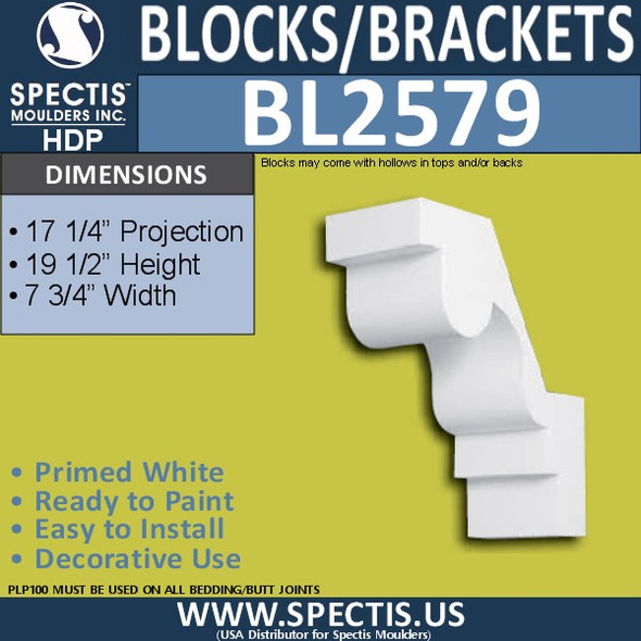 "BL2579 Eave Block or Bracket 7.75""W x 19.5""H x 17.25"" P"