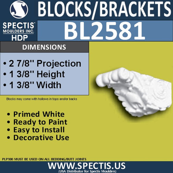 "BL2581 Eave Block or Bracket 1.37""W x 1.37""H x 3"" P"