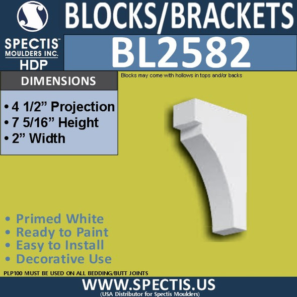 "BL2582 Eave Block or Bracket 2""W x 7""H x 4.5"" P"