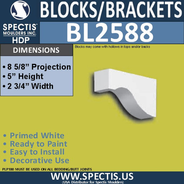 "BL2588 Eave Block or Bracket 3.75""W x 5""H x 8.5"" P"