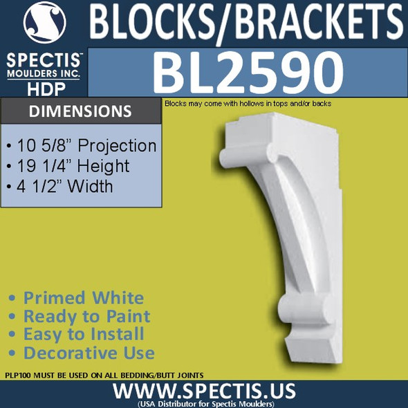 "BL2590 Eave Block or Bracket 4.5""W x 19.25""H x 10.5"" P"