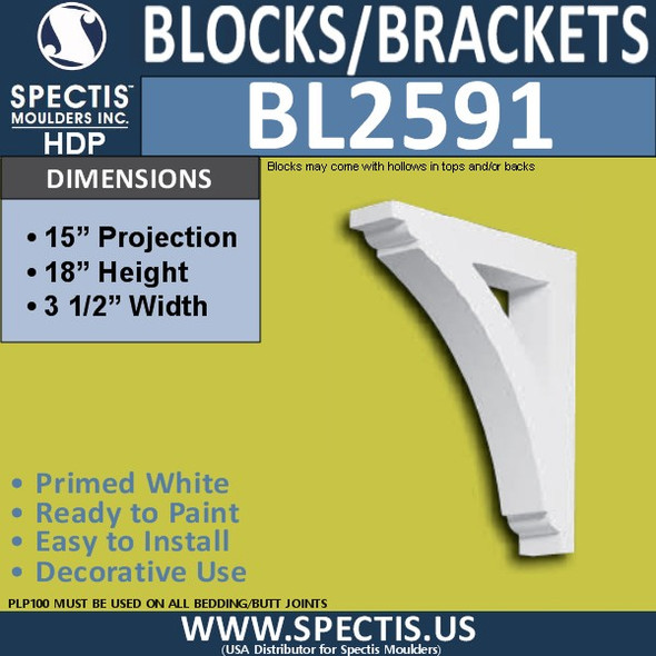 "BL2591 Eave Block or Bracket 3.5""W x 18""H x 15"" P"