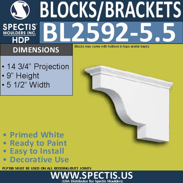 "BL2592-5.5 Eave Block or Bracket 5.5""W x 9""H x 14"" P"