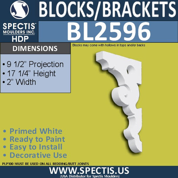 "BL2596 Eave Block or Bracket 2""W x 17.25""H x 9.5"" P"