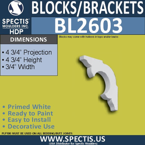 "BL2603 Eave Block or Bracket 0.75""W x 4.75""H x 4.75"" P"