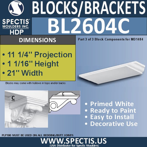 "BL2604C Eave Block or Bracket 21""W x 2""H x 11"" P"