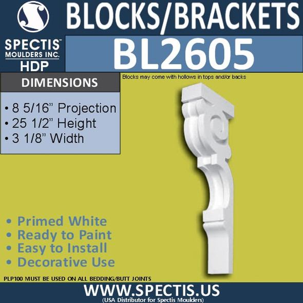 "BL2605 Eave Block or Bracket 3""W x 25.5""H x 18.25"" P"