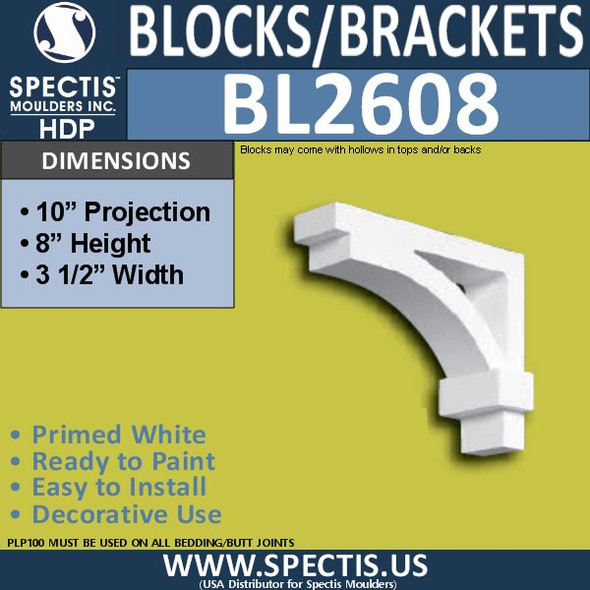 "BL2608 Eave Block or Bracket 3.5""W x 8""H x 10"" P"