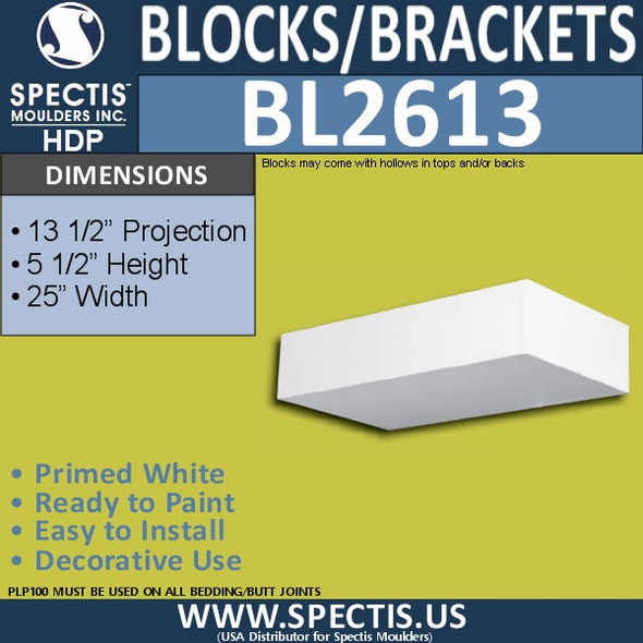 "BL2613 Eave Block or Bracket 13.5""W x 5.5""H x 25"" P"